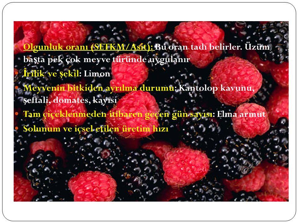 Olgunluk oranı (SETKM/Asit): Bu oran tadı belirler. Üzüm ba ş ta pek çok meyve türünde uygulanır İ rilik ve ş ekil: Limon Meyvenin bitkiden ayrılma du