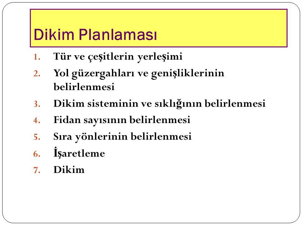 Dikim Planlaması 1. Tür ve çe ş itlerin yerle ş imi 2. Yol güzergahları ve geni ş liklerinin belirlenmesi 3. Dikim sisteminin ve sıklı ğ ının belirlen