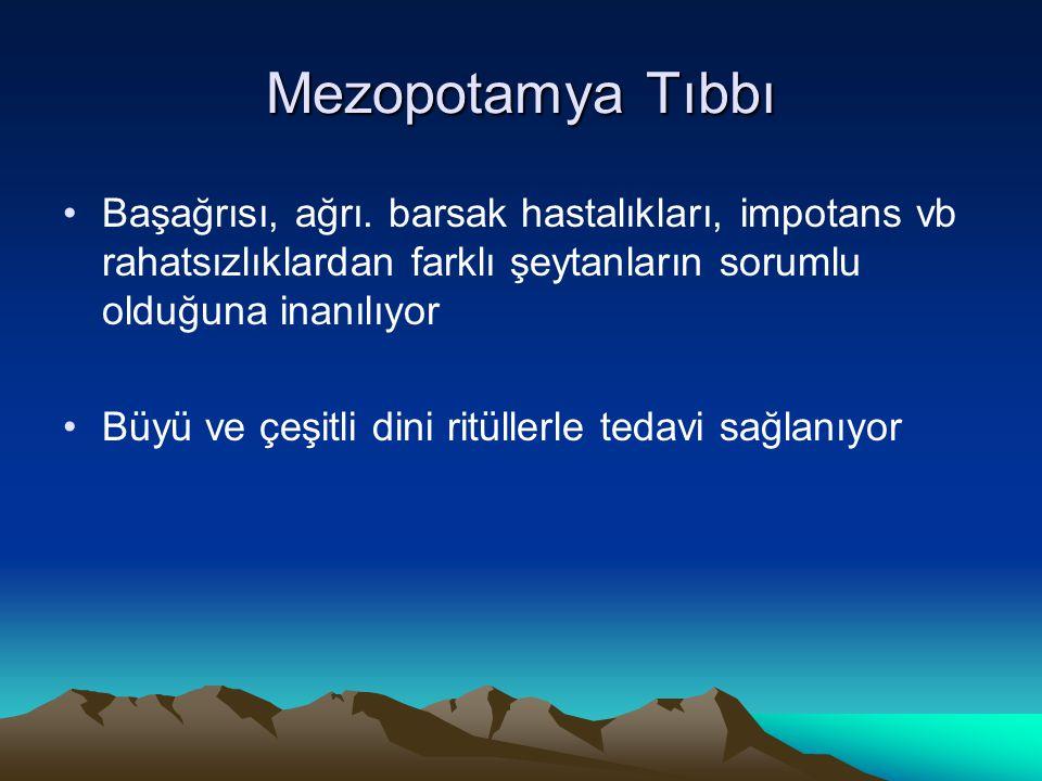 Mezopotamya Tıbbı Başağrısı, ağrı. barsak hastalıkları, impotans vb rahatsızlıklardan farklı şeytanların sorumlu olduğuna inanılıyor Büyü ve çeşitli d