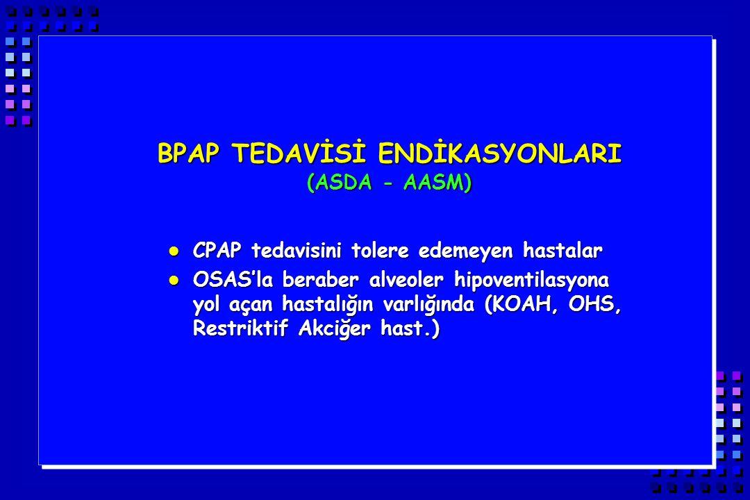 BPAP TEDAVİSİ ENDİKASYONLARI (ASDA - AASM) l CPAP tedavisini tolere edemeyen hastalar l OSAS'la beraber alveoler hipoventilasyona yol açan hastalığın