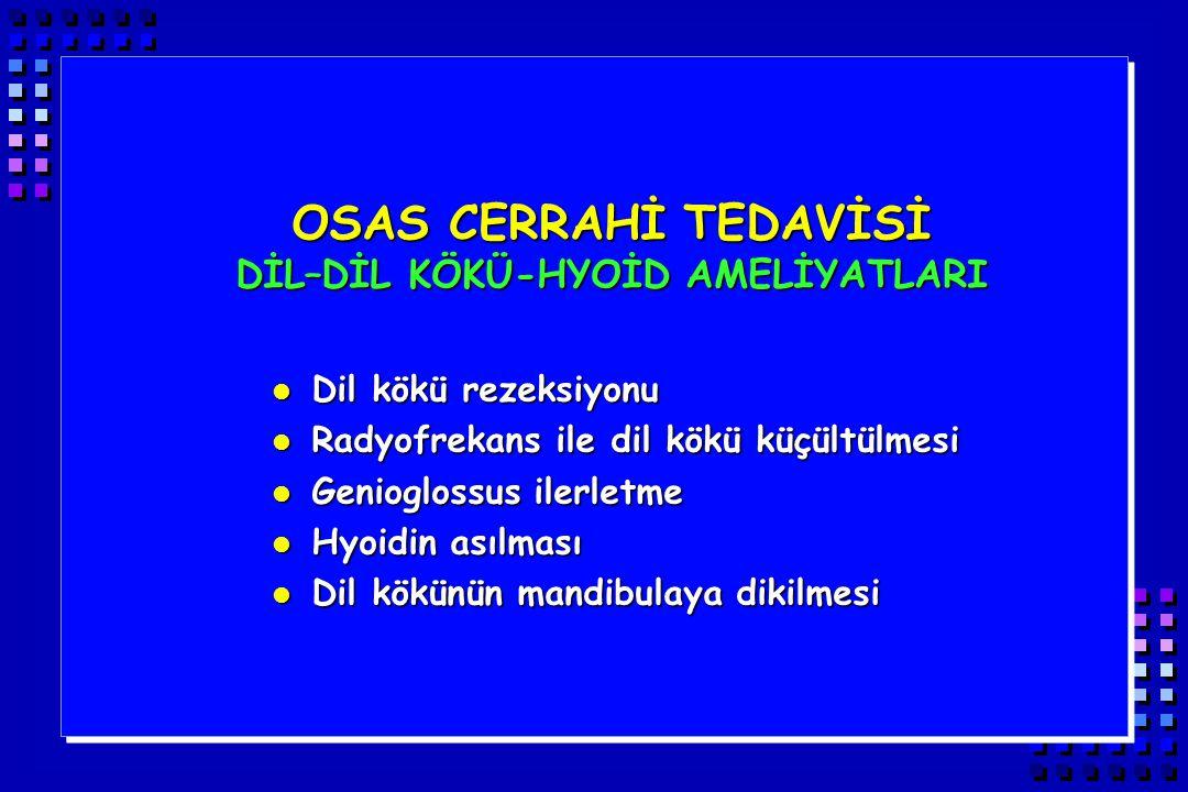 OSAS CERRAHİ TEDAVİSİ DİL–DİL KÖKÜ-HYOİD AMELİYATLARI l Dil kökü rezeksiyonu l Radyofrekans ile dil kökü küçültülmesi l Genioglossus ilerletme l Hyoid
