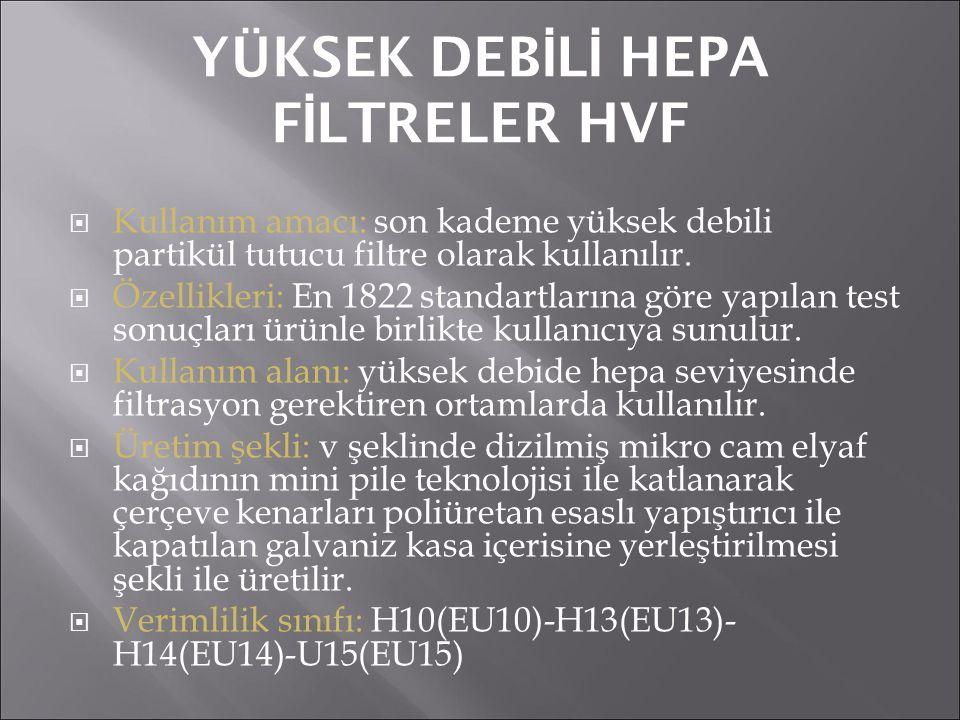 YÜKSEK DEB İ L İ HEPA F İ LTRELER HVF  Kullanım amacı: son kademe yüksek debili partikül tutucu filtre olarak kullanılır.  Özellikleri: En 1822 stan