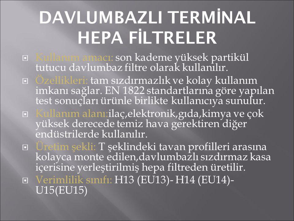 DAVLUMBAZLI TERM İ NAL HEPA F İ LTRELER  Kullanım amacı: son kademe yüksek partikül tutucu davlumbaz filtre olarak kullanılır.  Özellikleri: tam sız