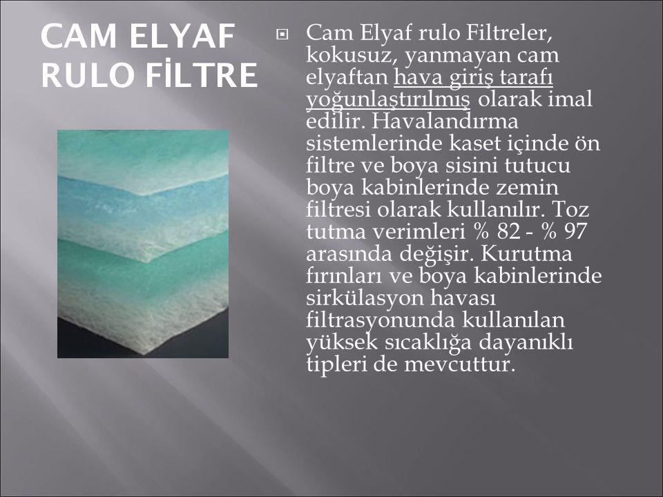 CAM ELYAF RULO F İ LTRE  Cam Elyaf rulo Filtreler, kokusuz, yanmayan cam elyaftan hava giriş tarafı yoğunlaştırılmış olarak imal edilir. Havalandırma