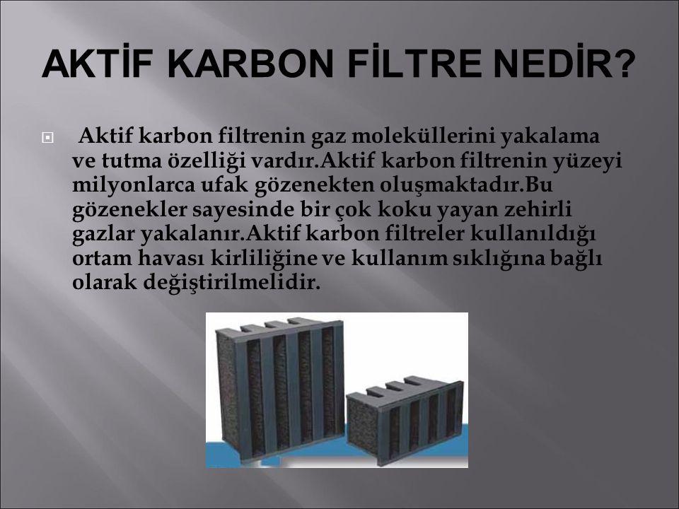 AKTİF KARBON FİLTRE NEDİR?  Aktif karbon filtrenin gaz moleküllerini yakalama ve tutma özelliği vardır.Aktif karbon filtrenin yüzeyi milyonlarca ufak