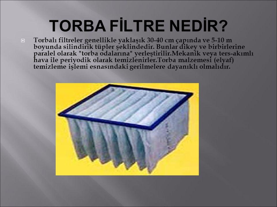TORBA FİLTRE NEDİR?  Torbalı filtreler genellikle yaklaşık 30-40 cm çapında ve 5-10 m boyunda silindirik tüpler şeklindedir. Bunlar dikey ve birbirle