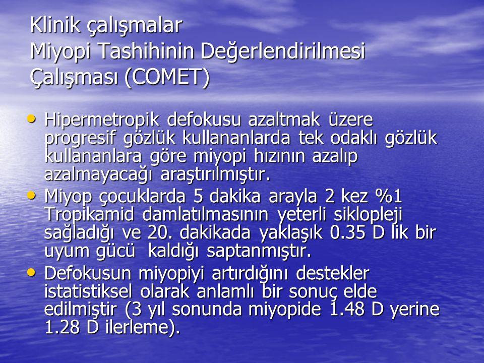Klinik çalışmalar Miyopi Tashihinin Değerlendirilmesi Çalışması (COMET) Hipermetropik defokusu azaltmak üzere progresif gözlük kullananlarda tek odakl