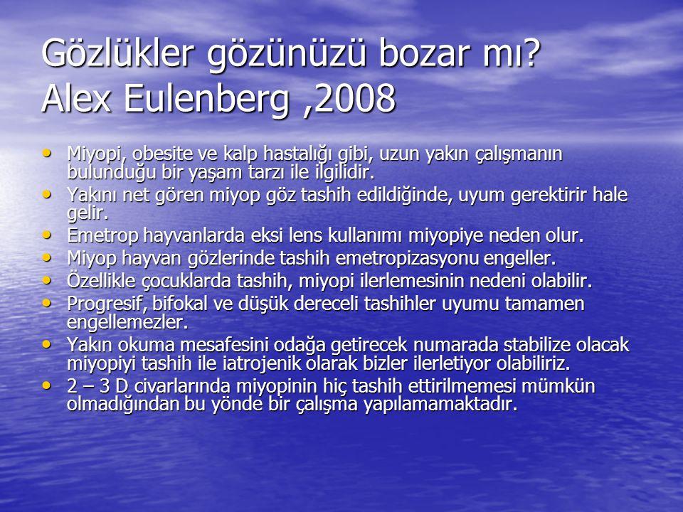Gözlükler gözünüzü bozar mı? Alex Eulenberg,2008 Miyopi, obesite ve kalp hastalığı gibi, uzun yakın çalışmanın bulunduğu bir yaşam tarzı ile ilgilidir