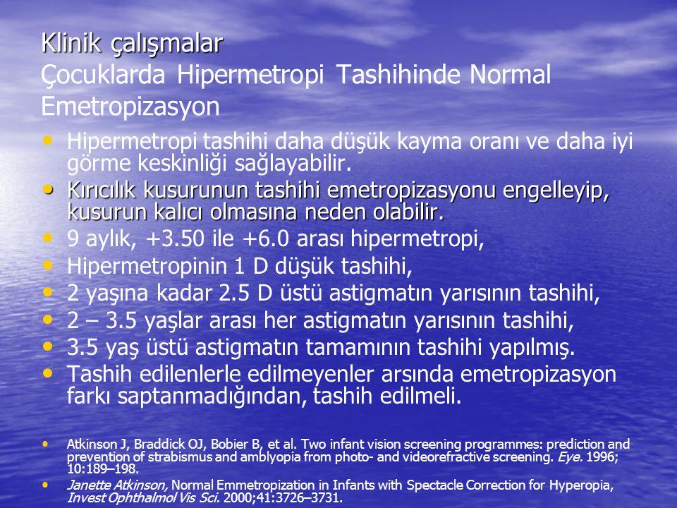 Klinik çalışmalar Klinik çalışmalar Çocuklarda Hipermetropi Tashihinde Normal Emetropizasyon Hipermetropi tashihi daha düşük kayma oranı ve daha iyi g