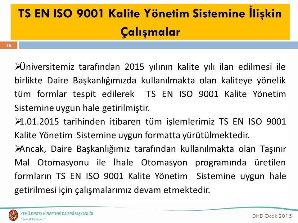 TS EN ISO 9001 Kalite Yönetim Sistemine İ lişkin Çalışmalar  Üniversitemiz tarafından 2015 yılının kalite yılı ilan edilmesi ile birlikte Daire Başka