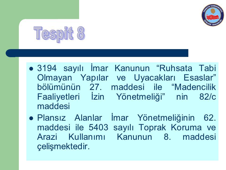 3194 sayılı İmar Kanunun Ruhsata Tabi Olmayan Yapılar ve Uyacakları Esaslar bölümünün 27.