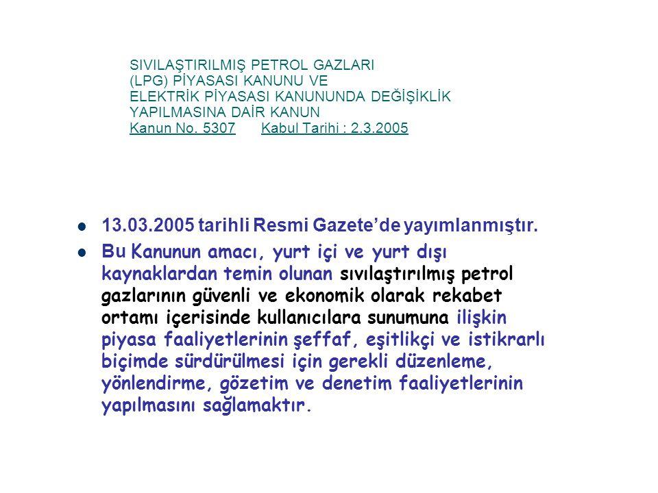 SIVILAŞTIRILMIŞ PETROL GAZLARI (LPG) PİYASASI KANUNU VE ELEKTRİK PİYASASI KANUNUNDA DEĞİŞİKLİK YAPILMASINA DAİR KANUN Kanun No. 5307Kabul Tarihi : 2.3