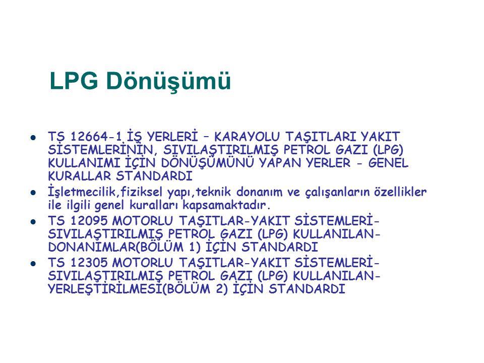 LPG Dönüşümü TS 12664-1 İŞ YERLERİ – KARAYOLU TAŞITLARI YAKIT SİSTEMLERİNİN, SIVILAŞTIRILMIŞ PETROL GAZI (LPG) KULLANIMI İÇİN DÖNÜŞÜMÜNÜ YAPAN YERLER