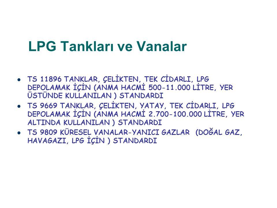 LPG Tankları ve Vanalar TS 11896 TANKLAR, ÇELİKTEN, TEK CİDARLI, LPG DEPOLAMAK İÇİN (ANMA HACMİ 500-11.000 LİTRE, YER ÜSTÜNDE KULLANILAN ) STANDARDI T