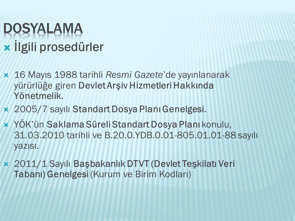  İlgili prosedürler  16 Mayıs 1988 tarihli Resmi Gazete'de yayınlanarak yürürlüğe giren Devlet Arşiv Hizmetleri Hakkında Yönetmelik.  2005/7 sayılı