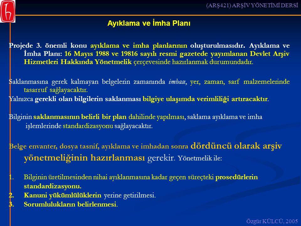 (ARŞ421) ARŞİV YÖNETİMİ DERSİ Özgür KÜLCÜ, 2005 Ayıklama ve İmha Planı Projede 3.