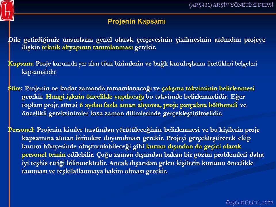 (ARŞ421) ARŞİV YÖNETİMİ DERSİ Özgür KÜLCÜ, 2005 Projenin Kapsamı Dile getirdiğimiz unsurların genel olarak çerçevesinin çizilmesinin ardından projeye ilişkin teknik altyapının tanımlanması gerekir.