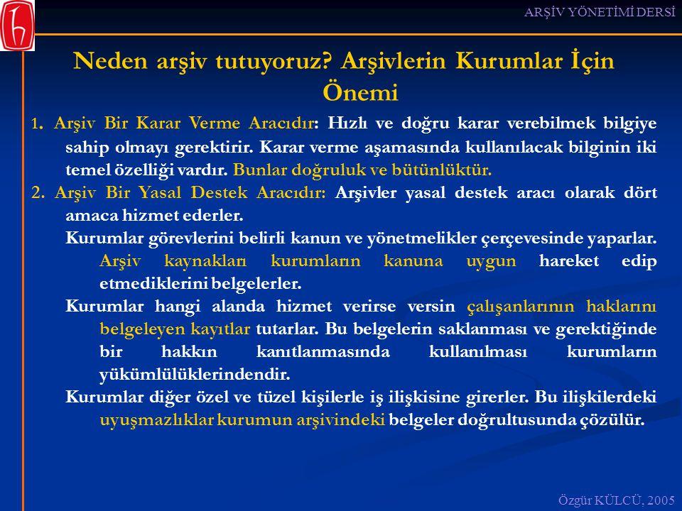 ARŞİV YÖNETİMİ DERSİ Özgür KÜLCÜ, 2005 Neden arşiv tutuyoruz.