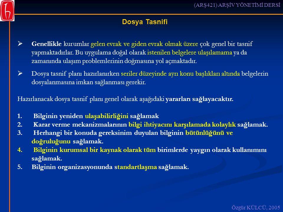 (ARŞ421) ARŞİV YÖNETİMİ DERSİ Özgür KÜLCÜ, 2005 Dosya Tasnifi  Genellikle kurumlar gelen evrak ve giden evrak olmak üzere çok genel bir tasnif yapmaktadırlar.