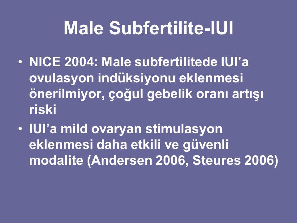 Male Subfertilite-IUI NICE 2004: Male subfertilitede IUI'a ovulasyon indüksiyonu eklenmesi önerilmiyor, çoğul gebelik oranı artışı riski IUI'a mild ov