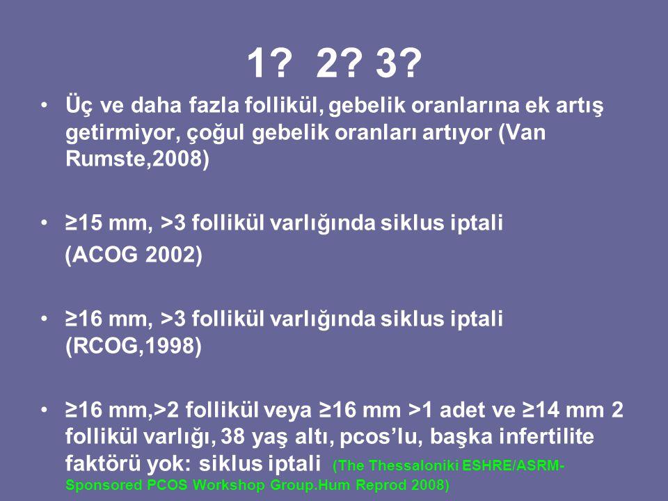 1? 2? 3? Üç ve daha fazla follikül, gebelik oranlarına ek artış getirmiyor, çoğul gebelik oranları artıyor (Van Rumste,2008) ≥15 mm, >3 follikül varlı