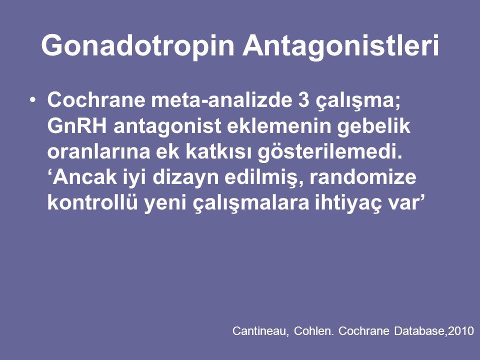 Gonadotropin Antagonistleri Cochrane meta-analizde 3 çalışma; GnRH antagonist eklemenin gebelik oranlarına ek katkısı gösterilemedi. 'Ancak iyi dizayn