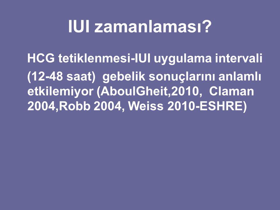 IUI zamanlaması? HCG tetiklenmesi-IUI uygulama intervali (12-48 saat) gebelik sonuçlarını anlamlı etkilemiyor (AboulGheit,2010, Claman 2004,Robb 2004,