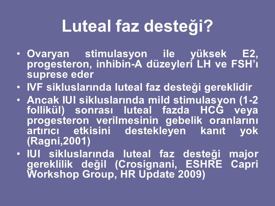 Luteal faz desteği? Ovaryan stimulasyon ile yüksek E2, progesteron, inhibin-A düzeyleri LH ve FSH'ı suprese eder IVF sikluslarında luteal faz desteği