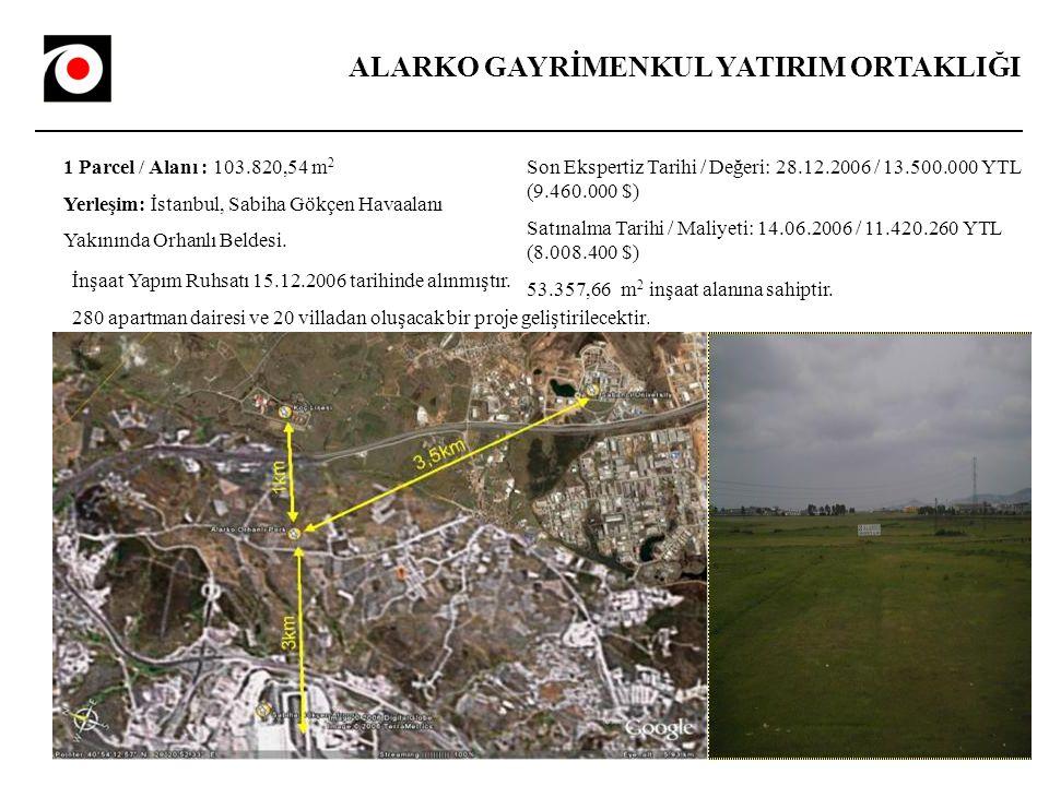 ALARKO GAYRİMENKUL YATIRIM ORTAKLIĞI 1 Parcel / Alanı : 103.820,54 m 2 Yerleşim: İstanbul, Sabiha Gökçen Havaalanı Yakınında Orhanlı Beldesi.