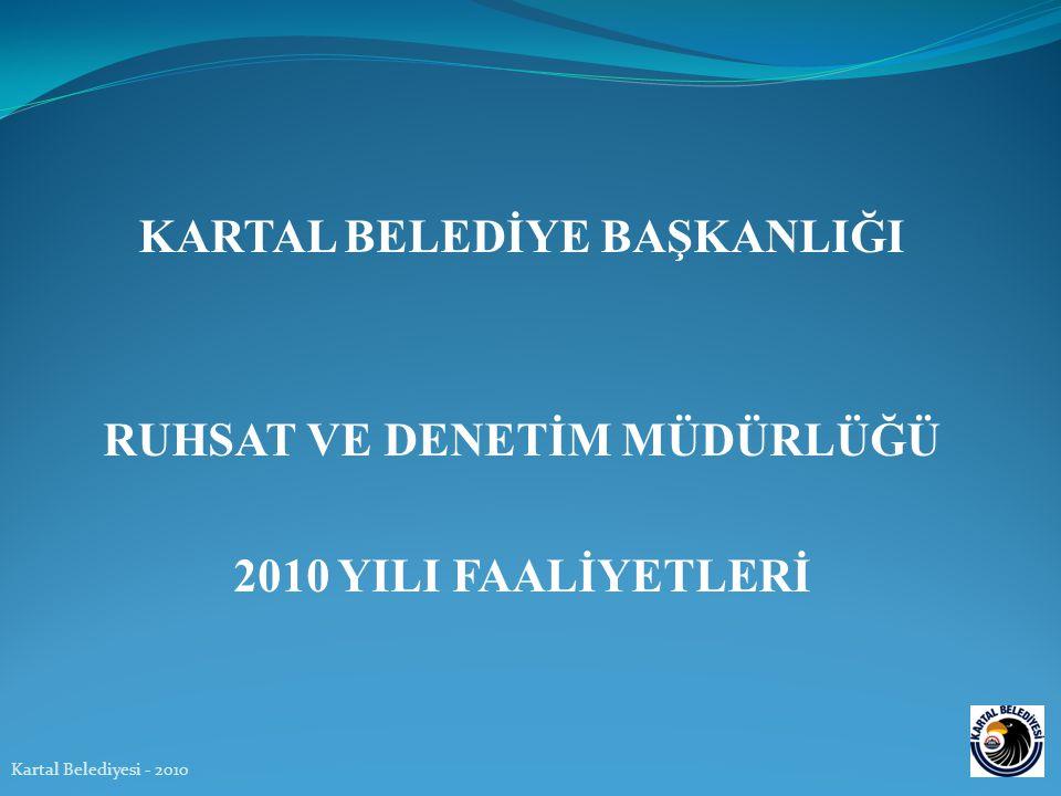 KARTAL BELEDİYE BAŞKANLIĞI RUHSAT VE DENETİM MÜDÜRLÜĞÜ 2010 YILI FAALİYETLERİ Kartal Belediyesi - 2010