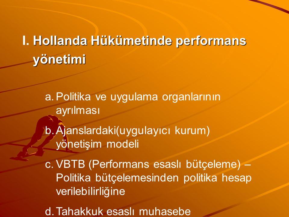 Hollanda Hükümetinde performans I. Hollanda Hükümetinde performans yönetimi yönetimi a.Politika ve uygulama organlarının ayrılması b.Ajanslardaki(uygu