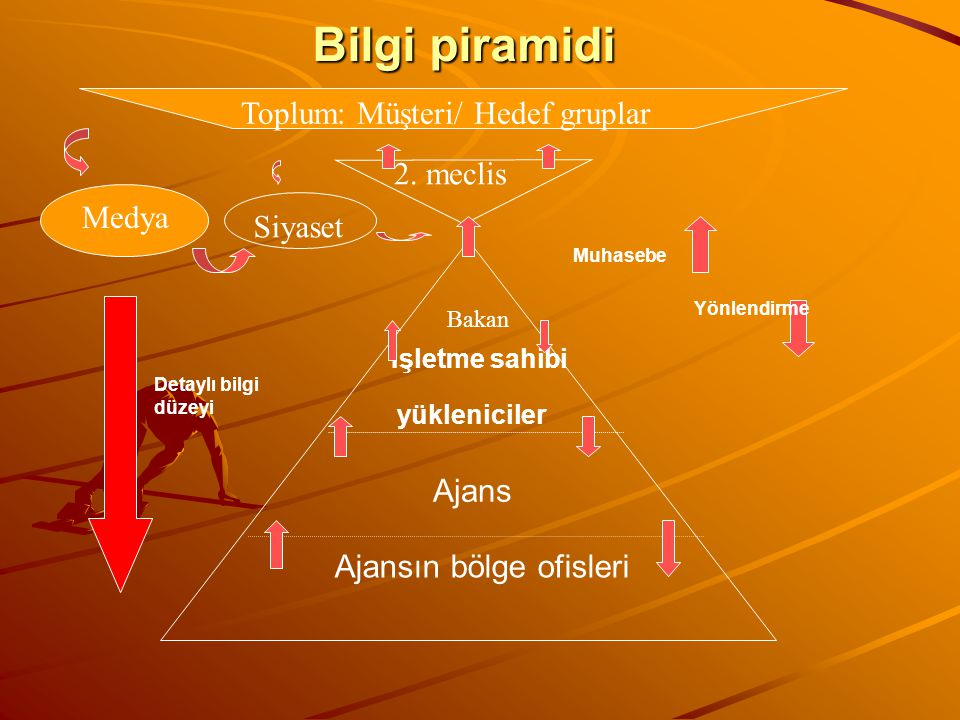 Bilgi piramidi Ajansın bölge ofisleri Ajans İşletme sahibi yükleniciler Detaylı bilgi düzeyi Muhasebe Yönlendirme 2. meclis Toplum: Müşteri/ Hedef gru