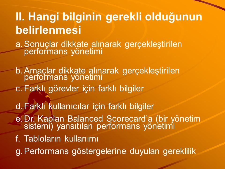 II. Hangi bilginin gerekli olduğunun belirlenmesi a.Sonuçlar dikkate alınarak gerçekleştirilen performans yönetimi b.Amaçlar dikkate alınarak gerçekle