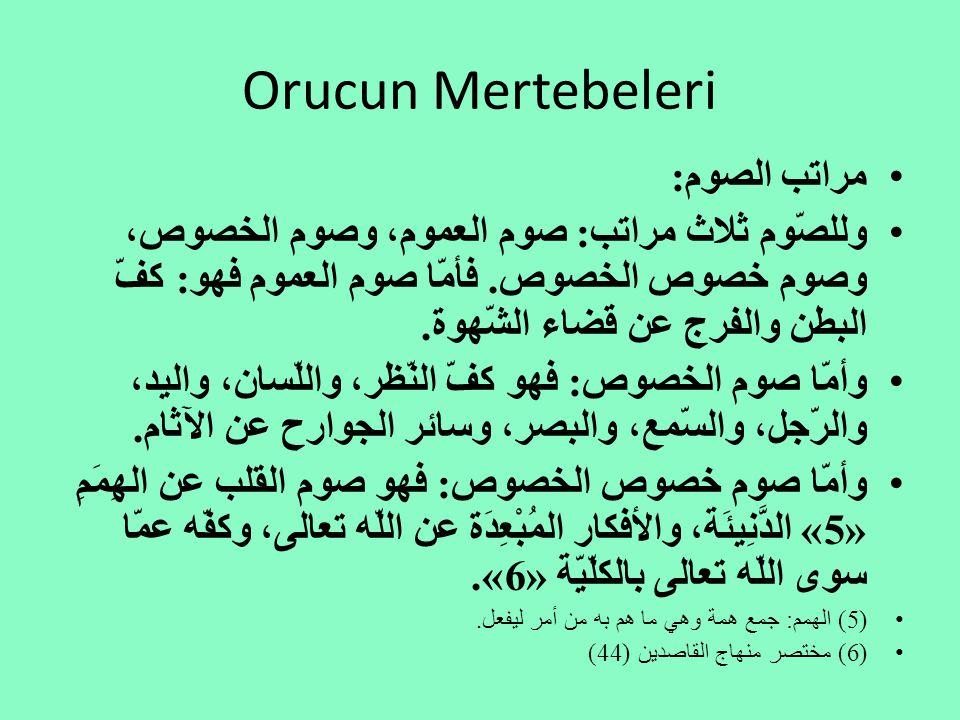 Orucun Mertebeleri مراتب الصوم: وللصّوم ثلاث مراتب: صوم العموم، وصوم الخصوص، وصوم خصوص الخصوص.