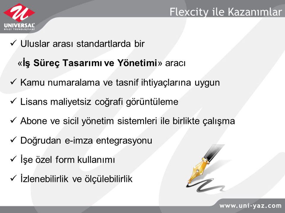 Flexcity ile Kazanımlar Uluslar arası standartlarda bir «İş Süreç Tasarımı ve Yönetimi» aracı Kamu numaralama ve tasnif ihtiyaçlarına uygun Lisans mal