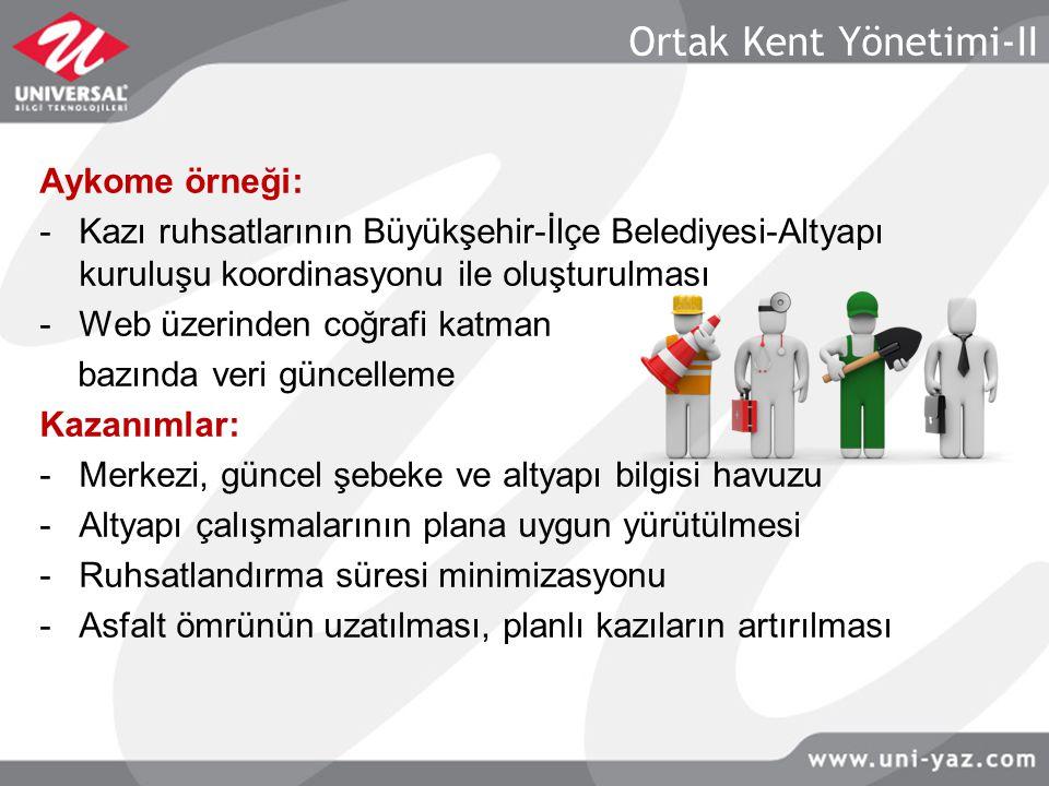 Ortak Kent Yönetimi-II Aykome örneği: -Kazı ruhsatlarının Büyükşehir-İlçe Belediyesi-Altyapı kuruluşu koordinasyonu ile oluşturulması -Web üzerinden c