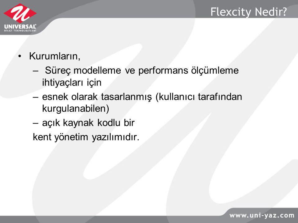 Flexcity Bileşenleri  e-masa: Kurumsal İş ve İçerik Yaşam Döngüsü Sistemi  MIS: Gelir, personel ve bütçe muhasebe modülleri  Varlık Yönetimi: Varlık ve işletme yönetimi