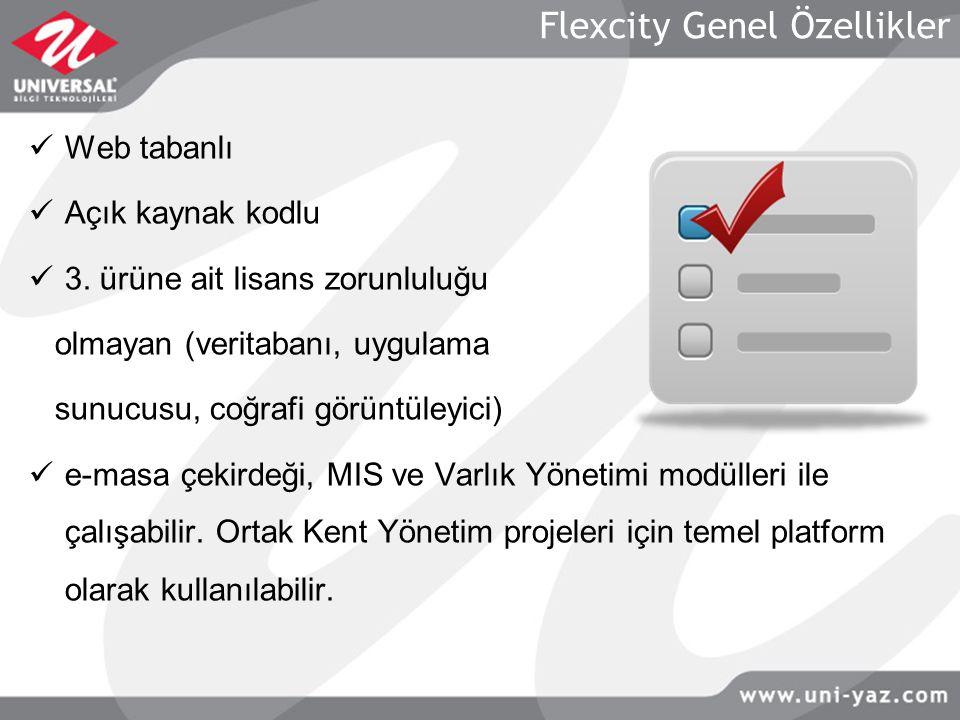 Flexcity Genel Özellikler Web tabanlı Açık kaynak kodlu 3. ürüne ait lisans zorunluluğu olmayan (veritabanı, uygulama sunucusu, coğrafi görüntüleyici)