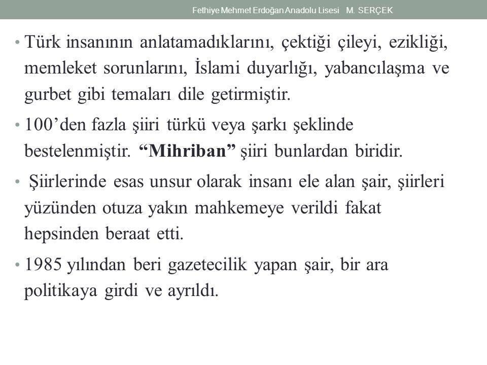 Türk insanının anlatamadıklarını, çektiği çileyi, ezikliği, memleket sorunlarını, İslami duyarlığı, yabancılaşma ve gurbet gibi temaları dile getirmiş