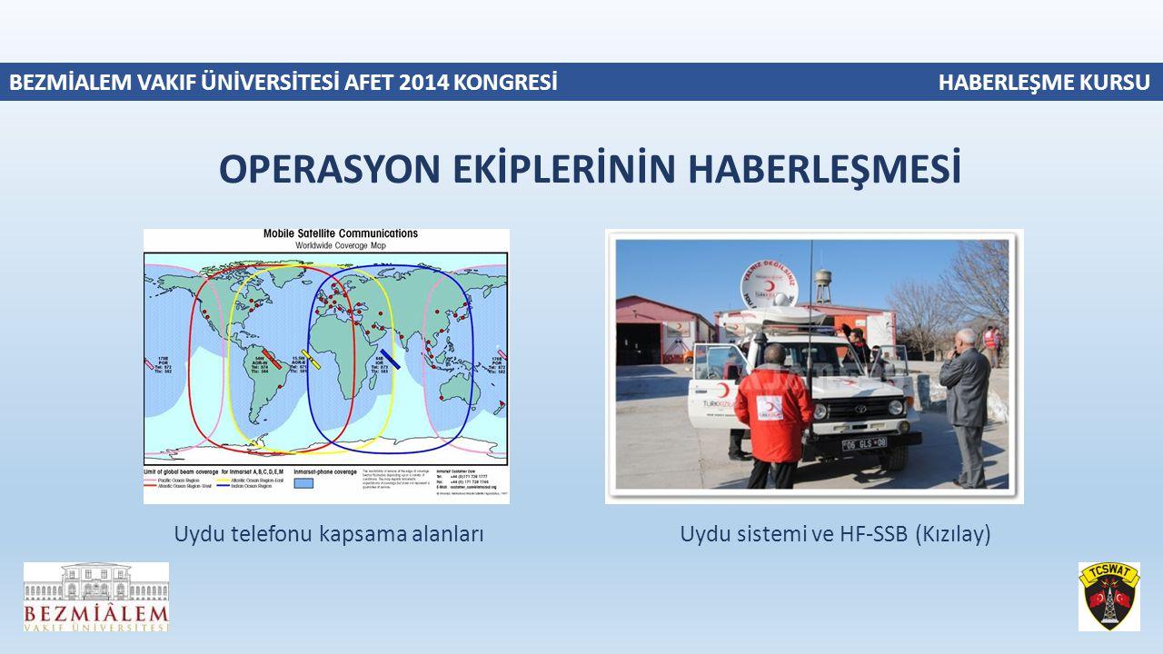 BEZMİALEM VAKIF ÜNİVERSİTESİ AFET 2014 KONGRESİ HABERLEŞME KURSU Uydu telefonu kapsama alanları Uydu sistemi ve HF-SSB (Kızılay) OPERASYON EKİPLERİNİN