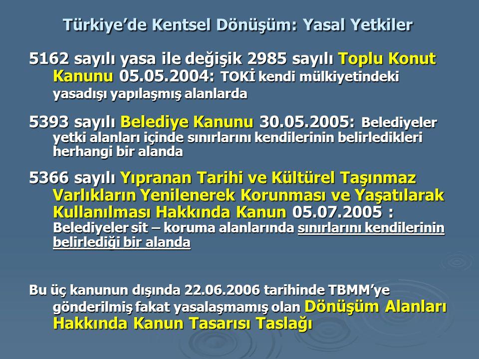 Türkiye'de Kentsel Dönüşüm: Yasal Yetkiler 5162 sayılı yasa ile değişik 2985 sayılı Toplu Konut Kanunu 05.05.2004: TOKİ kendi mülkiyetindeki yasadışı