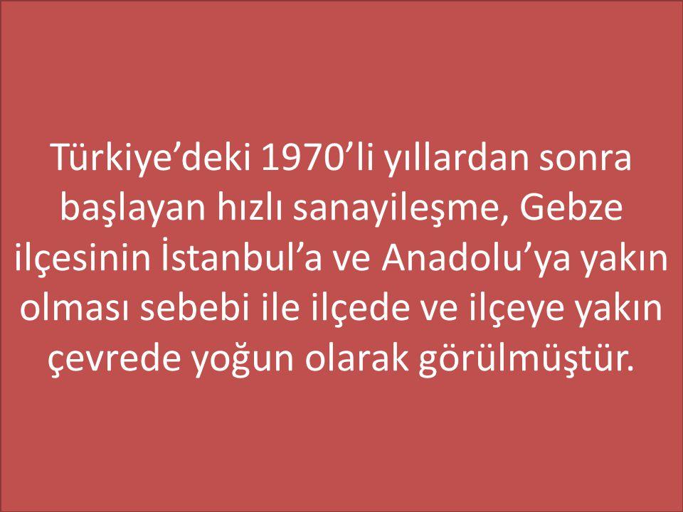 Türkiye'deki 1970'li yıllardan sonra başlayan hızlı sanayileşme, Gebze ilçesinin İstanbul'a ve Anadolu'ya yakın olması sebebi ile ilçede ve ilçeye yakın çevrede yoğun olarak görülmüştür.