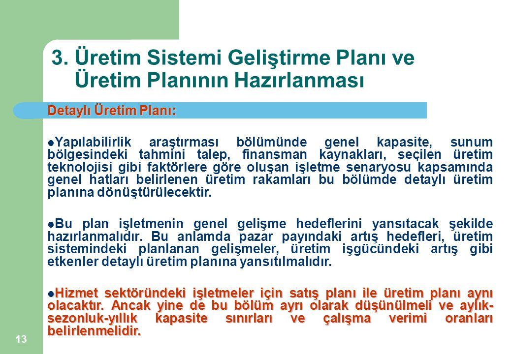 13 3. Üretim Sistemi Geliştirme Planı ve Üretim Planının Hazırlanması Detaylı Üretim Planı: Yapılabilirlik araştırması bölümünde genel kapasite, sunum