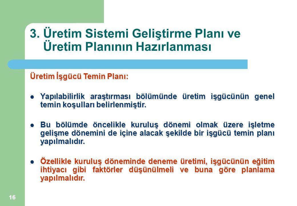 16 3. Üretim Sistemi Geliştirme Planı ve Üretim Planının Hazırlanması Üretim İşgücü Temin Planı: Yapılabilirlik araştırması bölümünde üretim işgücünün