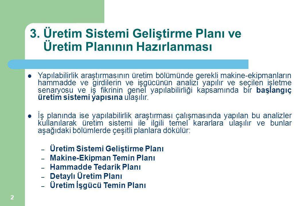 2 3. Üretim Sistemi Geliştirme Planı ve Üretim Planının Hazırlanması Yapılabilirlik araştırmasının üretim bölümünde gerekli makine-ekipmanların hammad