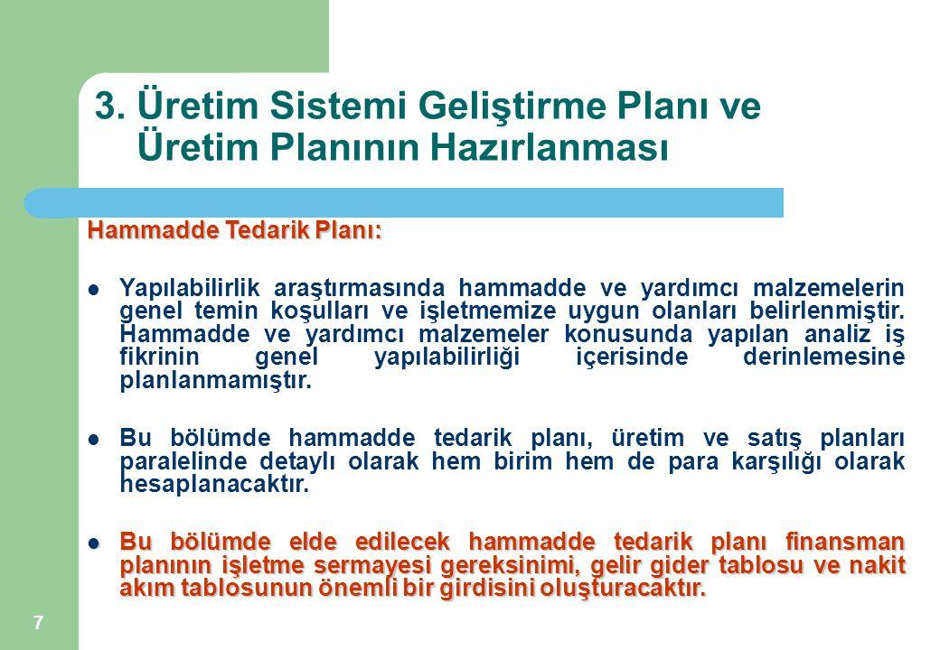 7 3. Üretim Sistemi Geliştirme Planı ve Üretim Planının Hazırlanması Hammadde Tedarik Planı: Yapılabilirlik araştırmasında hammadde ve yardımcı malzem