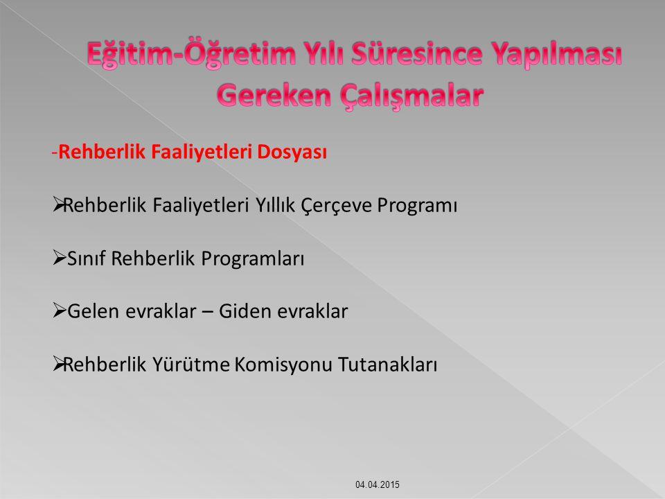 04.04.2015 -Rehberlik Faaliyetleri Dosyası  Rehberlik Faaliyetleri Yıllık Çerçeve Programı  Sınıf Rehberlik Programları  Gelen evraklar – Giden evr