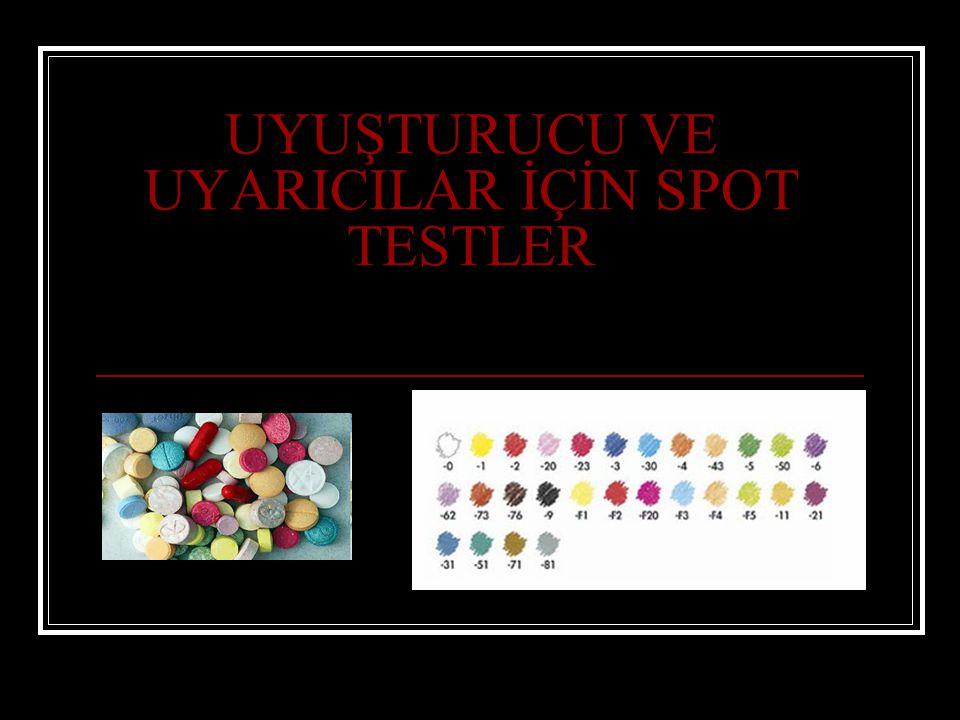 Uygulamada, analizi yapılacak çok az miktarda numune üstüne renk reaktifi damlatılır ve karıştırılır.