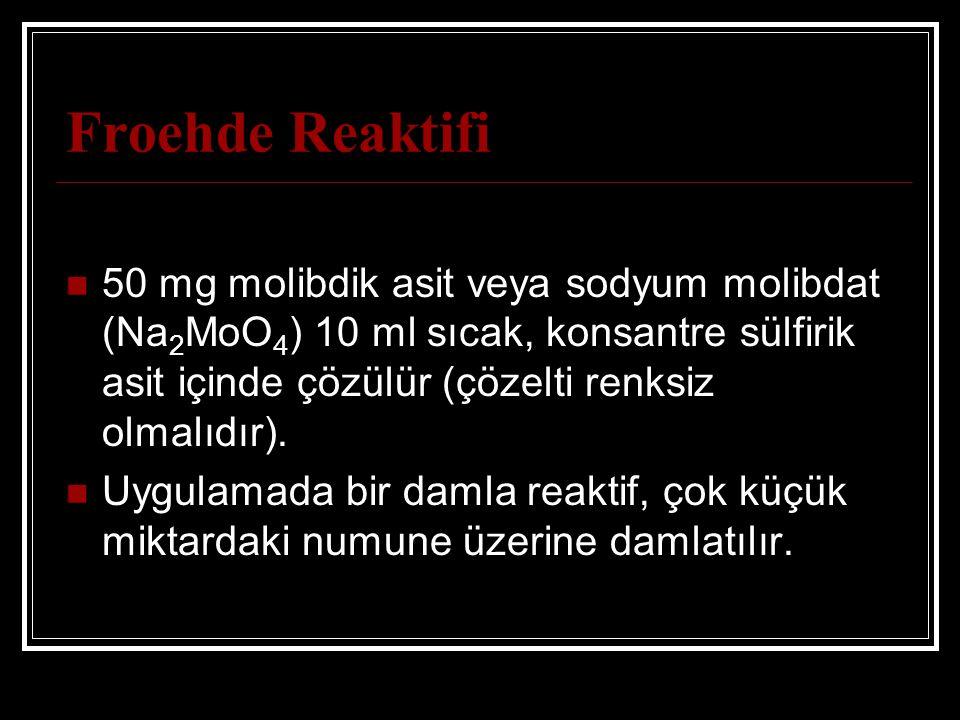 Froehde Reaktifi 50 mg molibdik asit veya sodyum molibdat (Na 2 MoO 4 ) 10 ml sıcak, konsantre sülfirik asit içinde çözülür (çözelti renksiz olmalıdır).