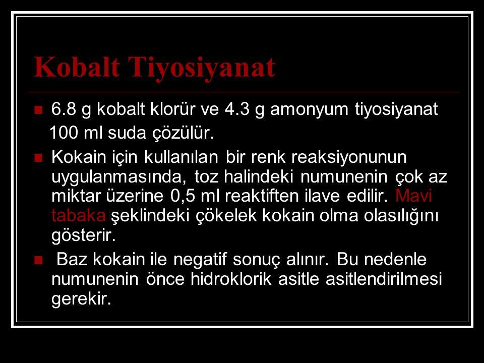 Kobalt Tiyosiyanat 6.8 g kobalt klorür ve 4.3 g amonyum tiyosiyanat 100 ml suda çözülür. Kokain için kullanılan bir renk reaksiyonunun uygulanmasında,